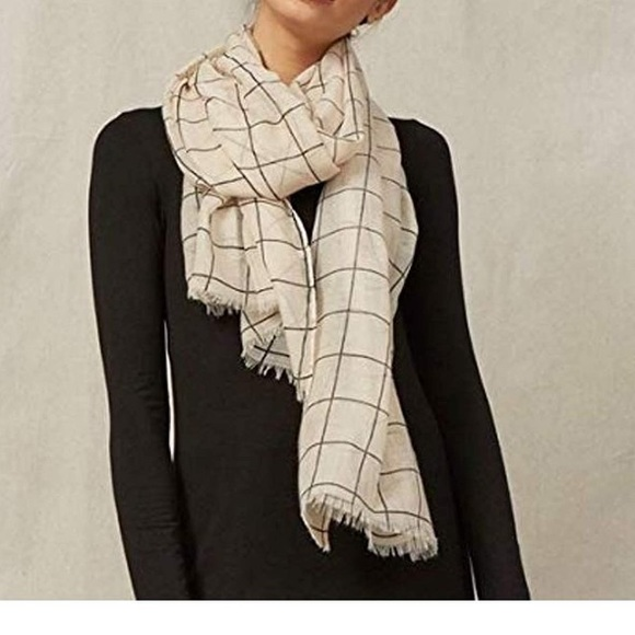 Rachel Pally Accessories - Rachel Pally cream grid scarf